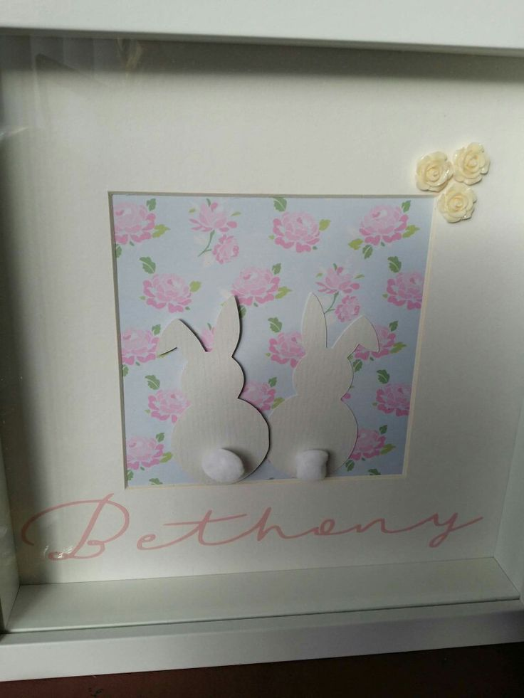 Little bunny rabbit butts, name gift frame with rose paper and pom pom tails and ivory resin roses. https://www.facebook.com/Thorny-Tree-Gifts-972127826132391/
