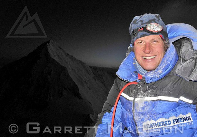 Garrett Madison at the summit of Lhotse.