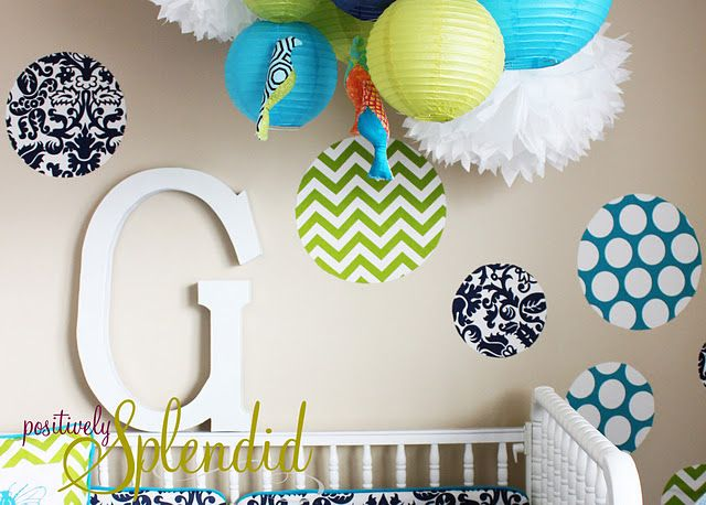 DIY fabric wall decorations...you hang them using spray starch so they are easy to remove and change whenever you want!