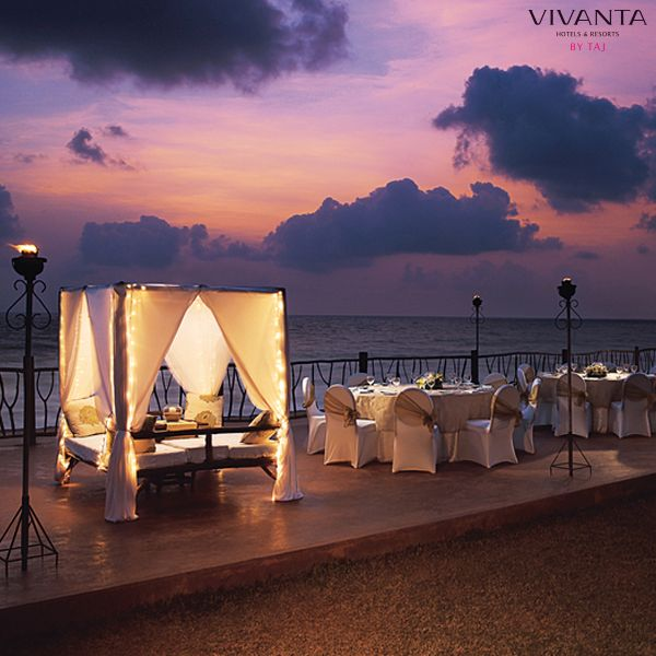 Raise a toast to years of togetherness as the sun sets at Holiday Village, Goa. Find out more about our #RenewalOfVows here: http://bit.ly/NeverEndingIDos #Goa #Couple #Wedding #Romantic #Dinner    #Sea #Beach #VivantabyTaj