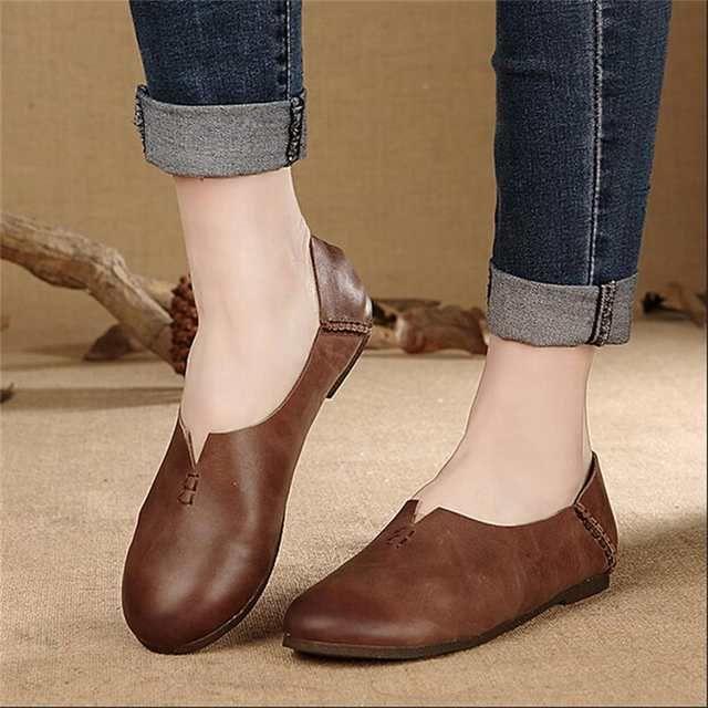 Artdiya Original diseño de cuero genuino zapatos de mujer hechos a mano vintage casual zapatos de tacón plano zapatos de mujer cómodos y suaves   – Schuhe