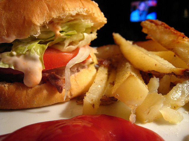 Turkey Burgers & Oven Fries by ohdearbarb, via Flickr