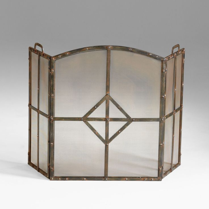 Lincoln Transitional Raw Steel Iron Fireplace Screen by Cyan Design