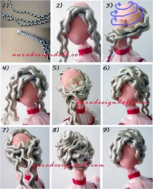 cabelo de tilda feito com cordão de cortinha desmanchado