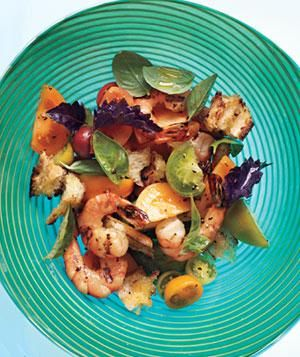Grilled Shrimp Panzanella With Basil - Nice light summer dinner with some