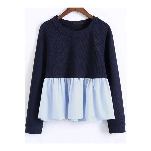 SheIn(sheinside) Color Block Ruffle Hem 2 In 1 Sweatshirt (39 BAM) ❤ liked on Polyvore featuring tops, hoodies, sweatshirts, navy, blue top, polyester sweatshirt, block top, navy top and color-block sweatshirt