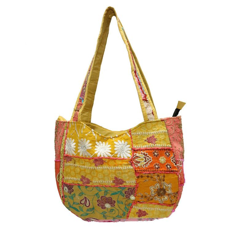 Ethnic Patchwork Embroidered Bag Vintage Boho Cotton Women Shoulder Shopping Bag #Handmade #ShoulderBags