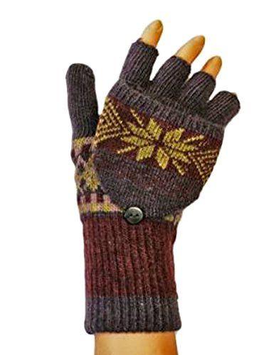 c2de2377905a4c Unbekannt Dame-Wolle reich fairisle Mitten Glove Kombination-PLUM. Ein Paar  aus Wolle reich fingerlose Handschuhe mit Handschuh …