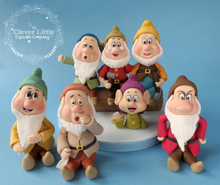 Seven Dwarfs Fondant Figures by The Clever Little Cupcake Company