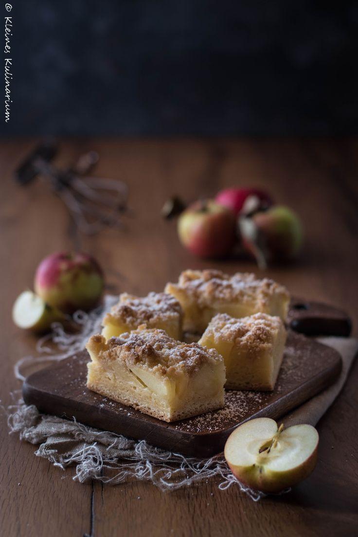 Apfelkuchen vom Blech - mit Zwillingsteig und Streuseln