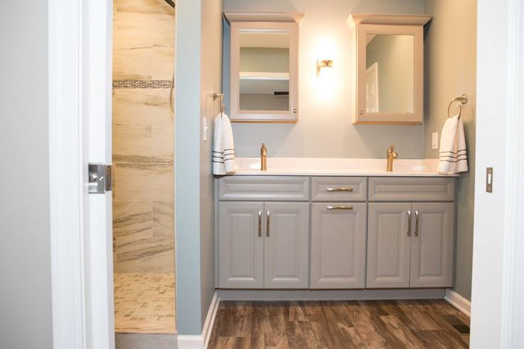 Painted Gray Vanity With Matching Mirrored Medicine Cabinets Done Using Roma Harbor Mist In