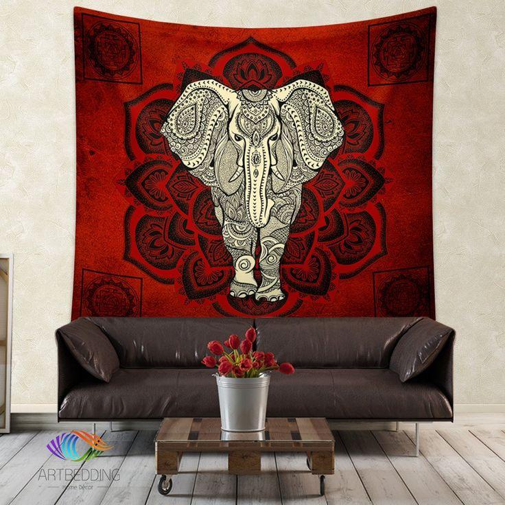 Elephant Tapestry, Mandala wall tapestry, Hippie tapestry wall hanging, bohemian wall tapestries, Boho elephant bedspread