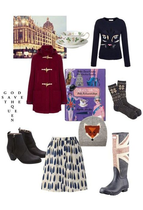 'London Calling' - de toeristenlook: Acne Pistol boots, Taschen boek Londen, Topshop jas, New Look muts, Hunter laarzen, Orla Kiely rok, J. Crew sokken, Poel & Joe trui