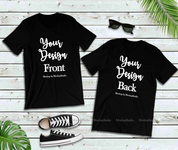 Download Free Black Front Back T Shirt Mockup Double Side Blank Psd A Simple Yet Super Realistic Mockup Of A Flat M Shirt Mockup Clothing Mockup Free Packaging Mockup