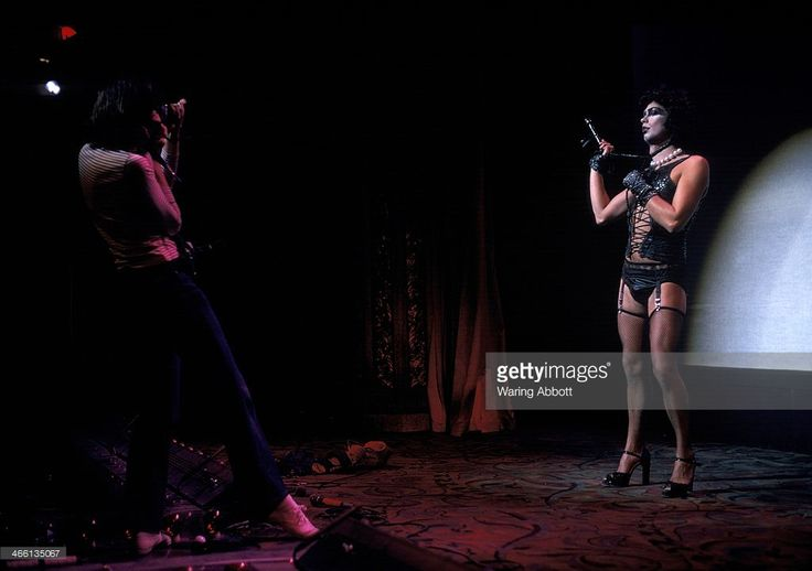 Actor Tim Curry performing as Frank 'N' Furter in the original American production of The Rocky Horror Picture Show at the Belasco Theater on March 10, 1975 in New York City.