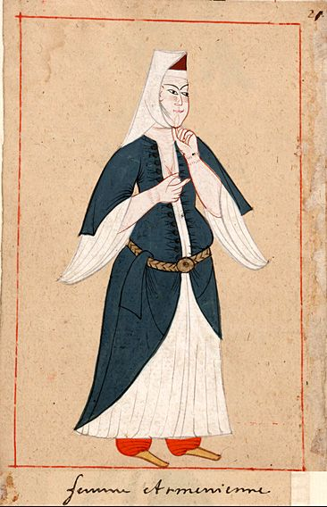 """Armenian woman    """"Femme Armenienne"""".  The 'Rålamb Costume Book' is a small volume containing 121 miniatures in Indian ink with gouache and some gilding, displaying Turkish officials, occupations and folk types. They were acquired in Constantinople in 1657-58 by Claes Rålamb who led a Swedish embassy to the Sublime Porte, and arrived in the Swedish Royal Library / Manuscript Department in 1886."""