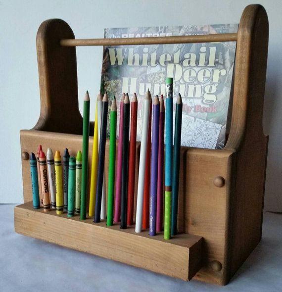 Coloring Book And Crayon Holder Home Work Holder Homeschool Etsy Crayon Holder Art Caddy Colored Pencil Holder