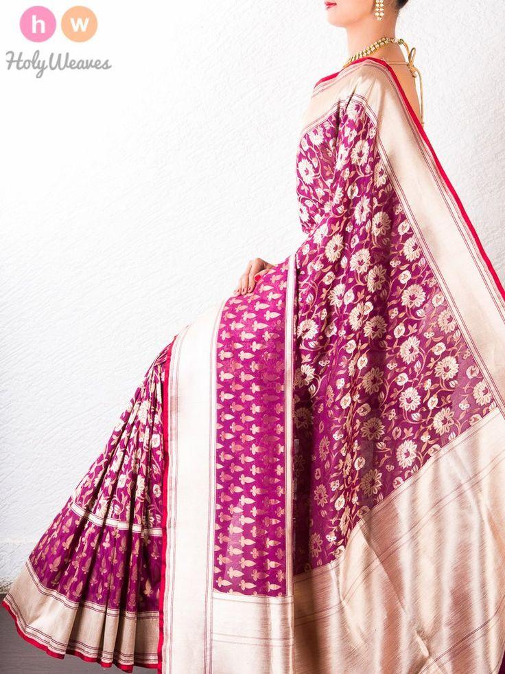 #Purple #Katan #Silk #Banarasi #Cutwork #Brocade #Handwoven #Saree #HolyWeaves