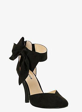 Ankle Bow D'orsay Pumps (Wide Width), DEEP BLACK