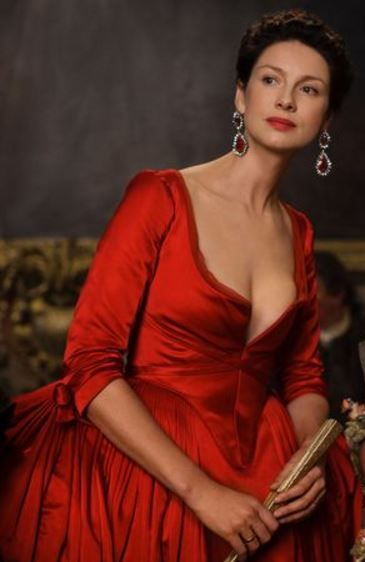 red satin gown outlander