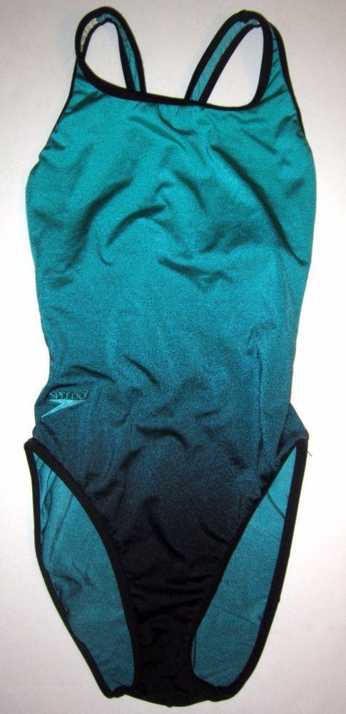 Women's Speedo Swimsuit Competition Practice 34/10 34 10 Green Black Racerback #Speedo #OnePiece