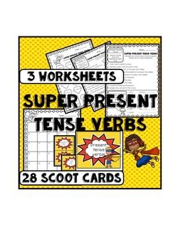 This product is full of SUPER present tense verbs.Included: 3 worksheets and one game of 28 card scoot/ task cards plus recording sheet!