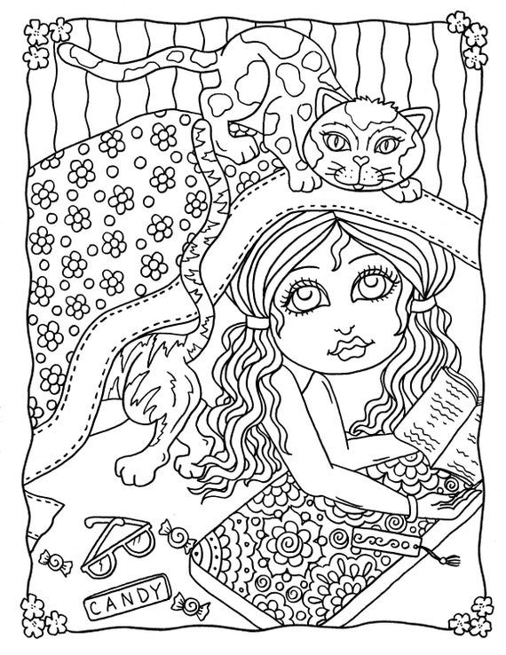 Crazy Cat Girls Digital Coloring Book Pdf Instant Download Cats And More Cats Fun Coloring For All Ages Coloring Books Love Coloring Pages Unicorn Coloring Pages