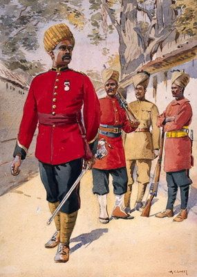 Soldier of the Mahratta Light Infantry, illustration for 'Armies of India' by Major G.F. MacMunn, published in 1911, 1908 Wall Art & Canvas Prints by Alfred Crowdy Lovett