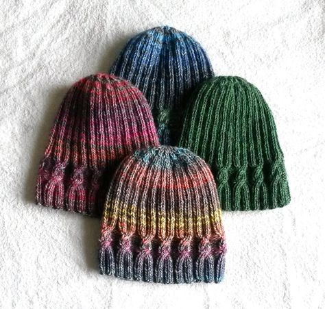 Knitting pattern: instant download pdf. This simple cable beanie is knit in the round, on one size of circular needles. This would be suitable as a first cable project, given that the cabling pattern is not overly complicated. It is a modern take on a traditional Aran motif, creating a hat which