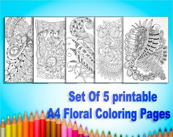 Coloring Pages Set. Set of 5 Printable A4 Adult от AnnaWiltonArt