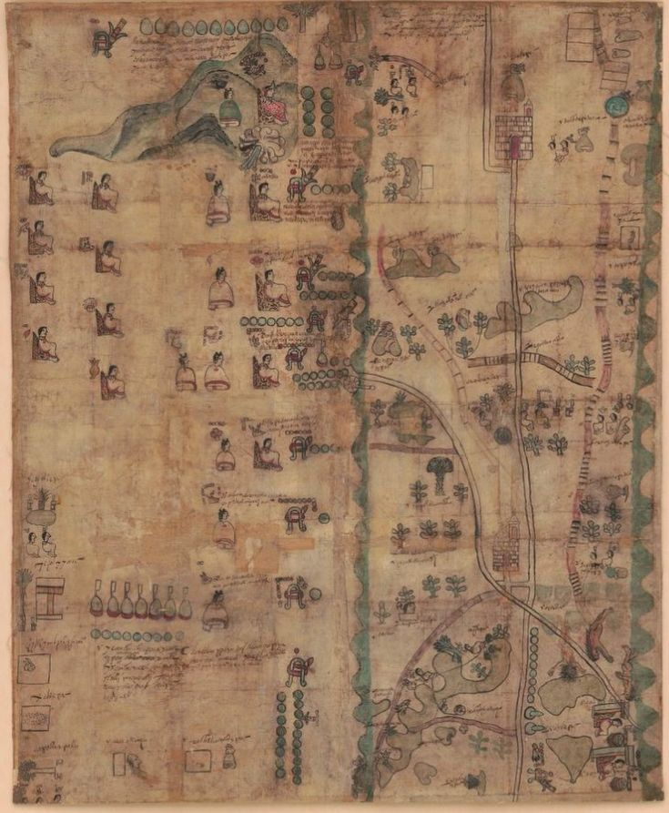 "This 1593 map shows southern Puebla from the church of Todos Santos (now northeast of Mexico City) and Lake Texcoco, to the church of Santa Cruz Huitziltepec, Pue (lower right). The map also reveals the genealogy and land ownership for the Nahuatl ""de Leon"" family from 1480 to 1593."
