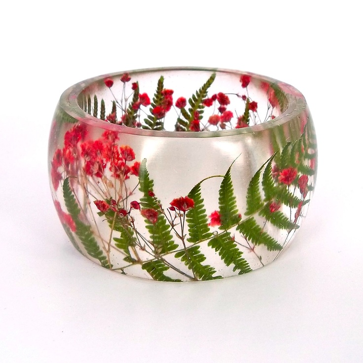 Inspiration for ice bowl with fresh flora as centerpiece.    Size XL Fern and  Baby's Breath Resin Bangle.  Red and Green Pressed Flower Bracelet.  Plus Size Bracelet with Real Flowers.. $46.00, via Etsy.