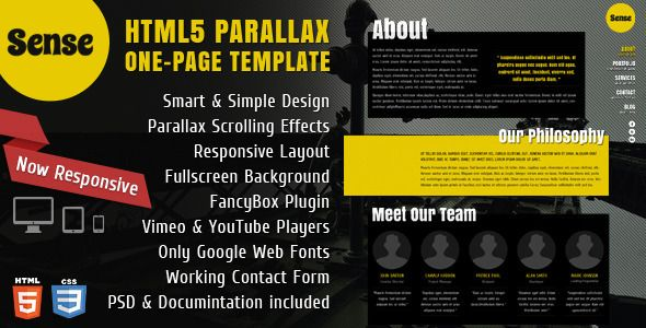 Sense - One-Page Parallax HTML5 & CSS3 Template - ThemeForest Item for ...