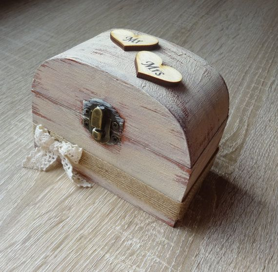wedding ring bearer box Rustic wooden ring box  ring holder