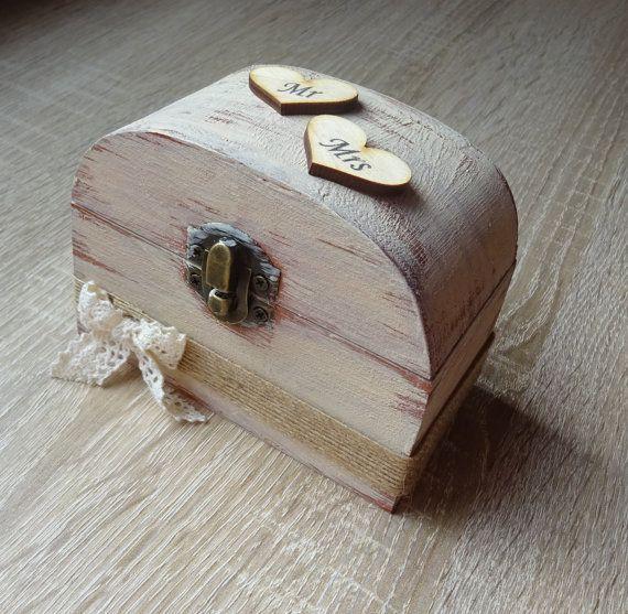 wedding ring bearer box Rustic wooden ring box  ring holder