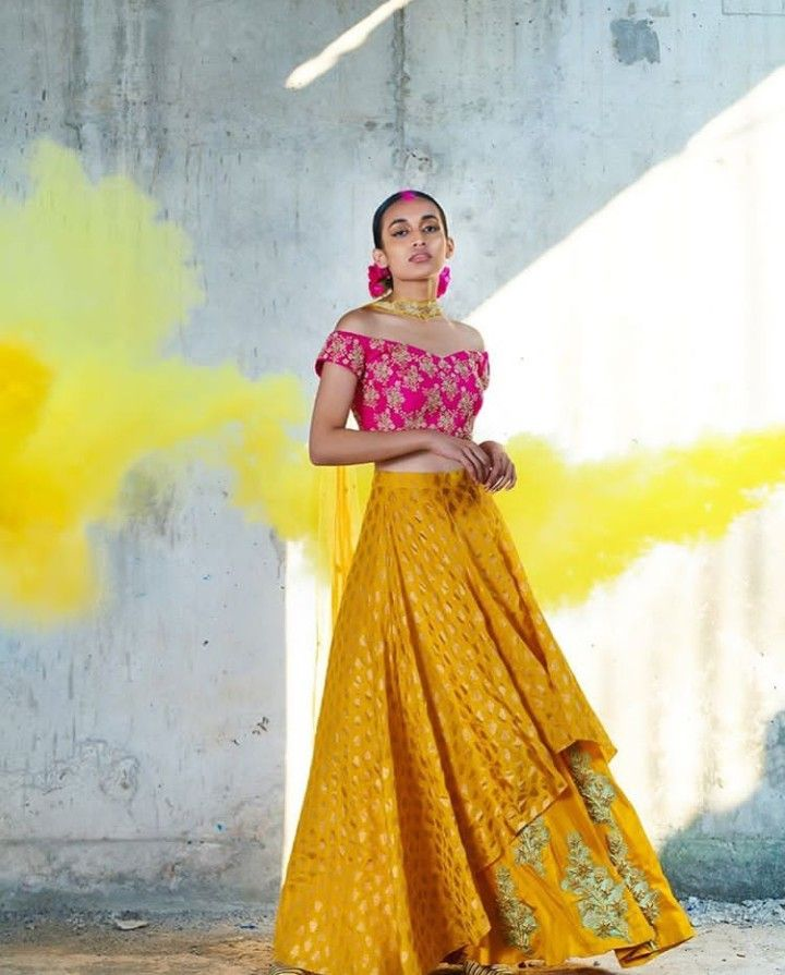 add20f0a9f7b4f Double layer Lehenga(skirt) with contrast blouse. It's look western but  beautiful