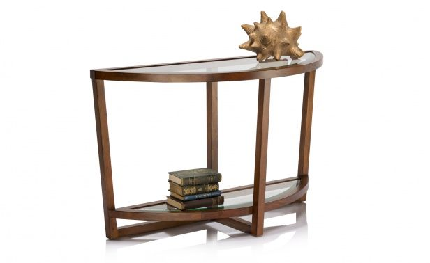 Coco Republic Gramercy Round Console Table - Cool Brown