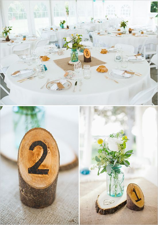 sweet + simple #centerpieces tree stump table numbers