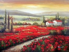 Tuscany Italian Sunrise Homes Red Poppy Field Stretched 36X48 Oil Painting Art