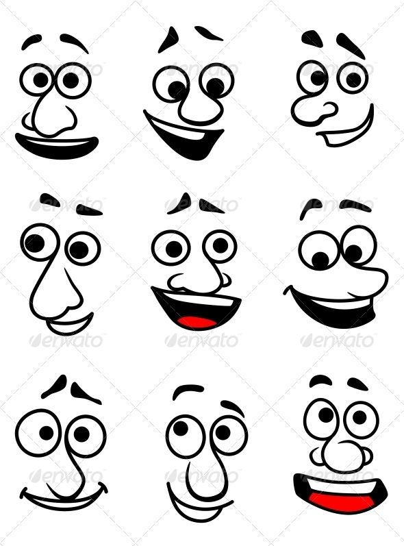 Emotional Faces #GraphicRiver Emotional faces in cartoon style for comics design. Editable EPS8 and JPEG (can edit in any vector and graphic editor) files are included SPORTS MASCOTS MEDICINE FOOD LABELS WEDDING DESIGN ELEMENTS ...