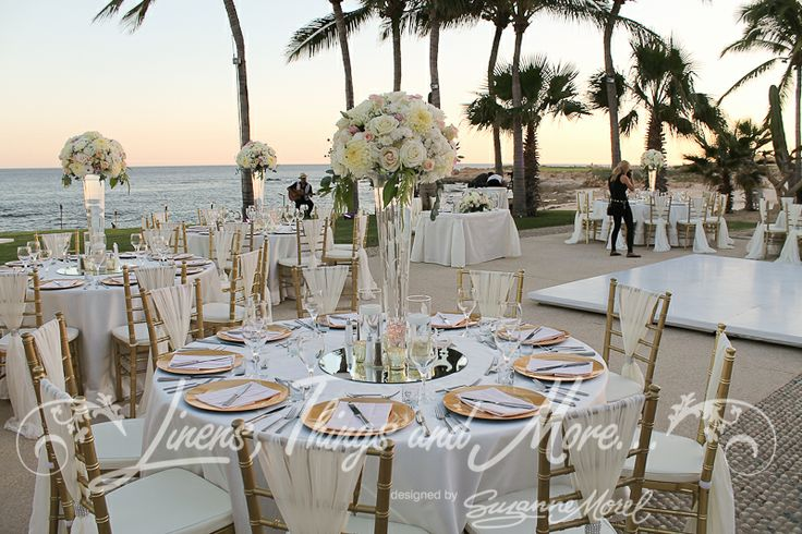 Romantic gold and blush wedding decor at the Fiesta Americana Los Cabos.