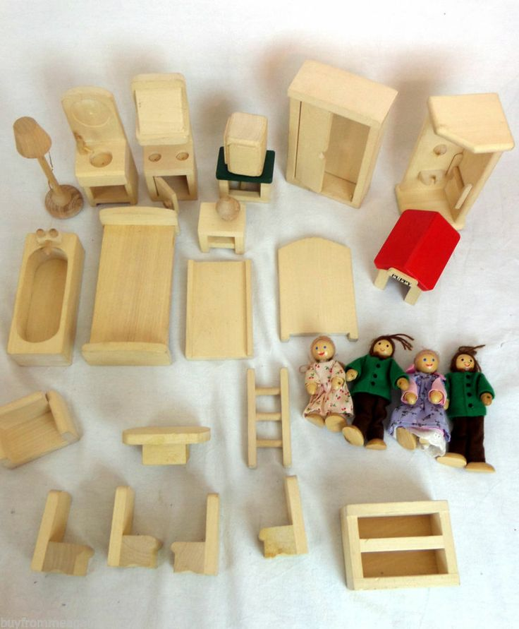 Lot 29 Wooden Doll House Furniture Beds Ryan 39 S Room 4 Dolls Wood Oven Bed Sink Buyfrommeagain