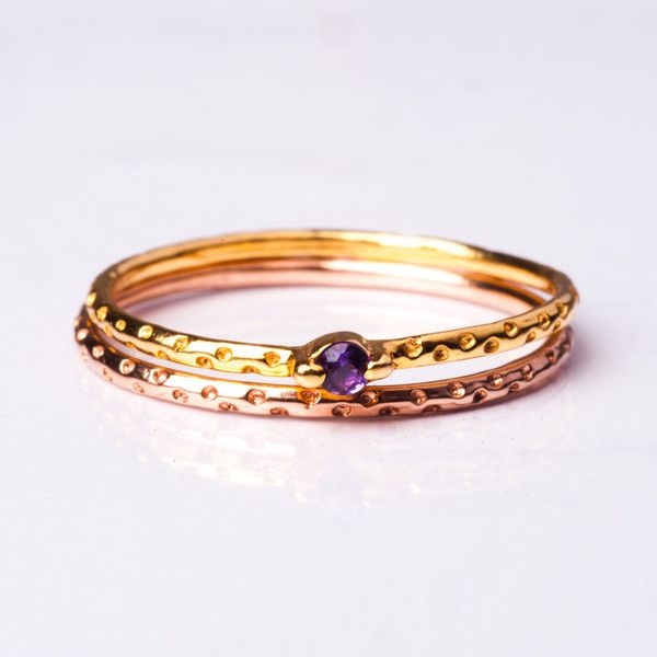 Tiniest Amethyst Confetti Polka dot gold Ring Stack | Jane Heng Jewellery