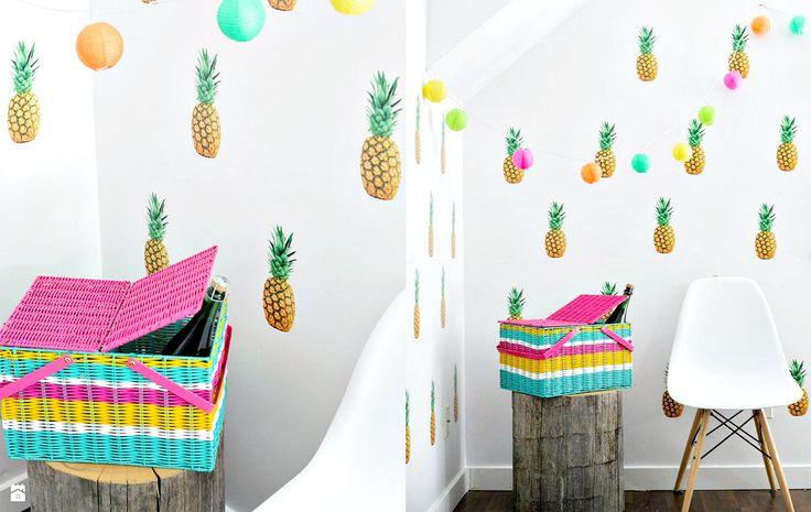 Tropikalna estetyka dekoracji we wnętrzu. Ananas w roli głównej. - zdjęcie od cleo-inspire - Hol / Przedpokój - Styl Skandynawski - cleo-inspire