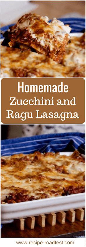A delicious homemade lasagne with layers of pasta, zucchini and sausage ragu. Get the recipe at http://www.recipe-roadtest.com/recipe/lasagna-zucchini-ragu/