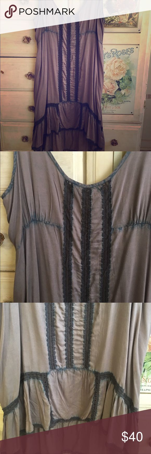 Free People dress Pretty lavender slip dress by Free People. Blue dye design throughout gives it a vintage feel. Can be worn as dress or tunic. Runs large. High low hem with ruffle detail. Size Large. Free People Dresses High Low