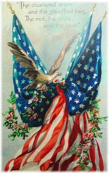 """Where liberty dwells, there is my country."" -Benjamin Franklin: Patriotic Holiday, American Flags, Red White Blue, Art, Vintage Picture, July 4Th, Vintage Cards"