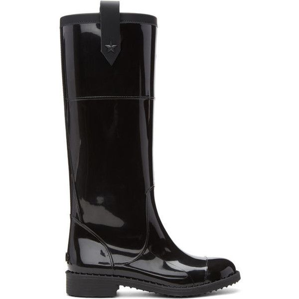Jimmy Choo Black Edith Rain Boots ($330) ❤ liked on Polyvore featuring shoes, boots, black, rubber boots, tall rubber boots, tall boots, leather boots and studded rain boots