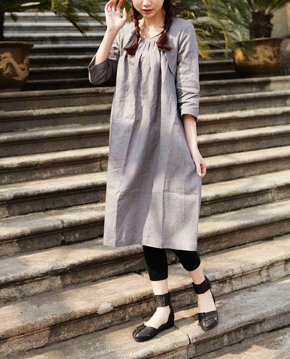 Linen Tunic Dress Grey Dress  Long Linen Dress Linen Shirt