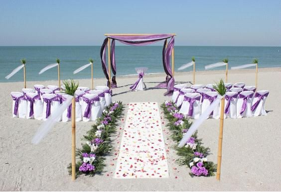 Purple Beach Wedding Decoration- Add a little blue and light purple and that's y perfect wedding